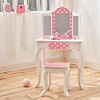 Teamson Kids Fashion Prints Polka Dot Wooden Vanity Table and Stool Set, Wood, Pink/White, 59.69 x 29.21 x 97.79 cm