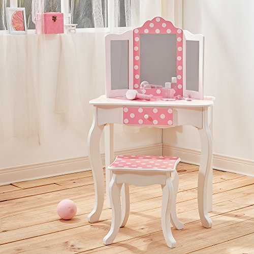 Fashion Prints- Teamson Kids-Gravures de Mode Polka Dot Vanity Table et Tabouret, TD-11670F, Pink & White, 59,69 x 29,21 x 97,79 cm