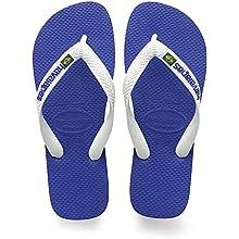 Havaianas Unisex's Brasil Logo Flip Flops, Marine Blue, 1/2 UK