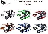 Adult Mx Helmet Wulfsport Sceptre New Model Motorcycle Motorbike Off Road Racing ATV Enduro Helmet With Goggles (Blue, S)
