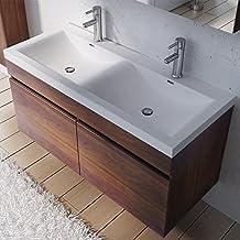 Meuble salle de bains double vasque 120 - Meuble salle de bain noyer ...