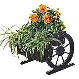Melko® Pflanzkübel mit Wagenräder, aus Holz, schwarz, 44 × 42 x 40 cm, Pflanzkarre Pflanzwagen Blumenkübel