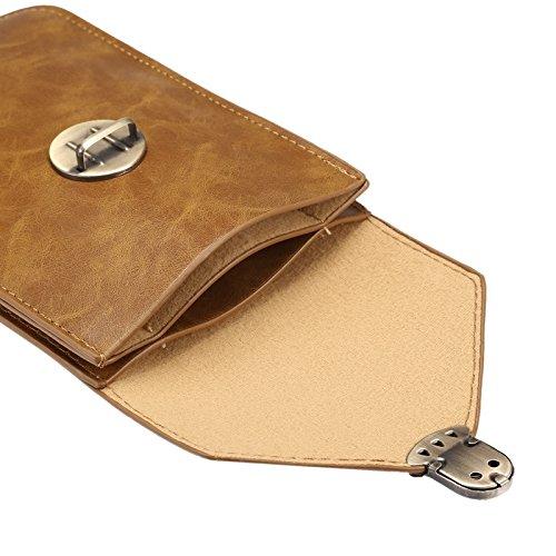 Wkae Case & Cover 5,7 pouces Universal mode Vertical Crazy Horse Texture Case trois couches multi-fonctions en cuir / sac de taille pour iPhone 6 Plus &6S Plus, Samsung Galaxy S7 Bord / G935 &S6 bord  Khaki
