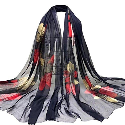OverDose Damen Schal, Fashion Lady Tücher Blumen Lange Wrap Frauen Schal Chiffon Schal Seide Schals Halstuch (Jeans Chiffon)