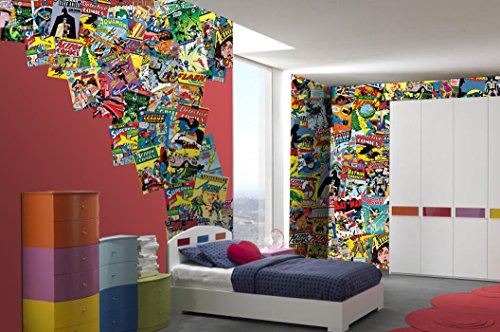1 Wall C64PL-COMICS-001 Kreative Collage \'DC Comic Hefte\' Fototapete, 64 Stück