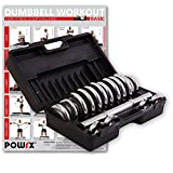 POWRX Chrom Hantel Set 15 kg  inkl. Workout Kurzhanteln mit Koffer Chromhanteln