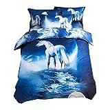 Bettbezug Set 3D Galaxy Sternenhimmel Universum Mond Einhorn Duvet Quilt und Kissenbezug Einzelbett 135x200cm für Kinder, Jungen, Mädchen Bettwäsche-Set (Blaues Einhorn, 135 x 200 cm)
