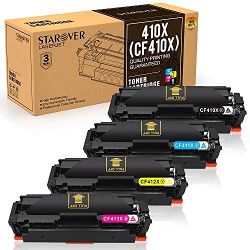 STAROVER 4x 410X (CF410X - CF413X) también compatible con 410A CF410A Cartuchos De Tóner Compatible Para HP Color LaserJet Pro M377dw M452nw M452dw M452dn M477fdn M477fnw M477fdw