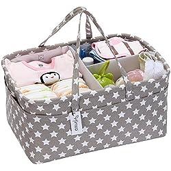 hinwo Baby Windel Caddy 3Infant Kinderzimmer teilige Lagerplatz tragbar Auto Organizer Neugeborene Dusche Geschenk Korb mit abnehmbare Trennwand und 10unsichtbar Taschen für Windeln und Feuchttücher, grau Star