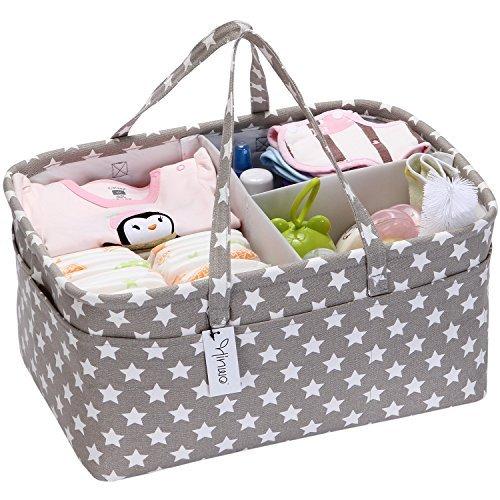 Hinwo, cestino portaoggetti per neonati con divisore separabile e 10 tasche invisibili, ideale per pannolini e salviette, colore: grigio con stelle bianche