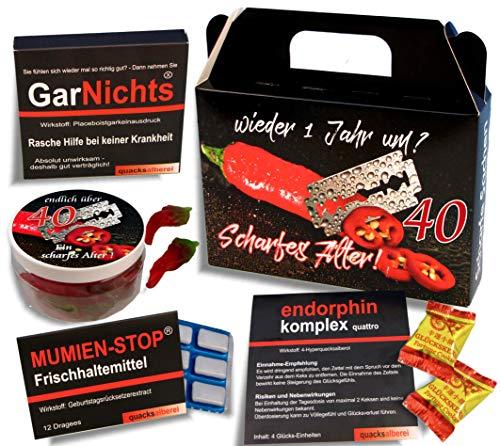 QUATSCHmanufaktur Koffer  / SCHARFES ALTER  / zum 40. Geburtstag (5-teilig) / Witzig / Partygeschenk  / Mitbringsel