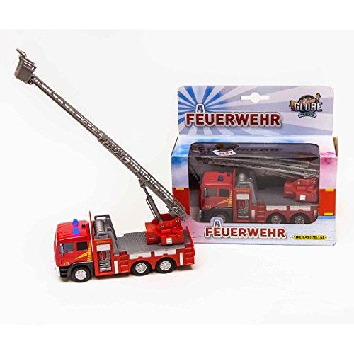 Van Manen Kids Globe Traffic Feuerwehrauto mit Drehleiter, Spielzeug, Kinderspielzeug mit Licht und Sound, 510126, rot