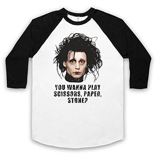 Inspiriert durch Edward Scissorhands Scissors Paper Stone Unofficial 3/4 Hulse Retro Baseball T-Shirt Weis & Schwarz