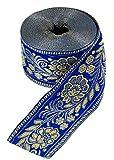 Guru-Shop Orient Bordüre, Indisches Webband mit Blüten 6 cm Breit, 1 m - Kornblumenblau, Kunstfaser, Webbänder, Bordüren