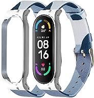 سوار ساعة بديل متوافق مع شاومي سمارت باند 5، بنمط قماش الدنيم المنسوج، مصنوع من مواد لينة وجيدة التهوية باطار