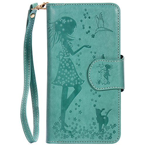 Coque Etui iPhone SE, Sunroyal® Housse iPhone 5s Portefeuille Wallet Motif Fille Fleur Case Cover PU Cuir Dragonne Strap Portable Swag Rabat Flip Skin Shell de Protection avec 9 Fente Fonction Stand P Pattern 19