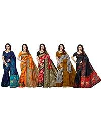 Ishin Combo Of 5 Poly Silk Multicolor Printed Women's Saree