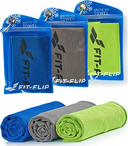 Fit-Flip Kühltuch 3er Set 100x30cm, Mikrofaser Sporthandtuch kühlend, Kühltuch, Cooling Towel, Mikrofaser Handtuch| Farbe: grün/dunkelblau/grau, Größe: 100x30cm (Ziel Handtücher)