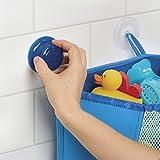 mDesign Baby Badespielzeug Aufbewahrung – Eckkorb aus Neopren für Bad & Dusche – Organizer mit Saugnäpfen für Badespielzeuge, Shampoo etc. – blau