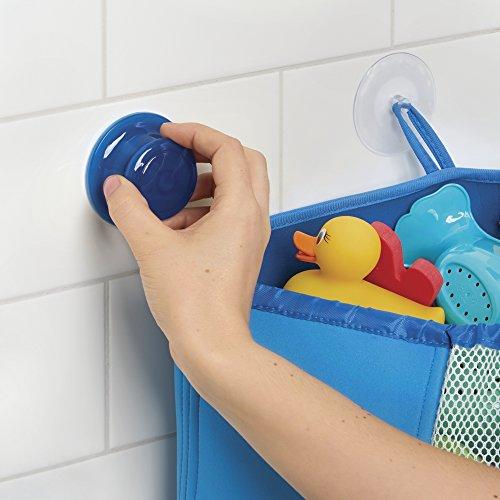 mDesign - Organizador-rinconero tipo canasta, de ítems del bebé/niño pequeño, de neopreno, para el rincón del cubículo de la ducha; organiza juguetes para el baño, champú - Azul