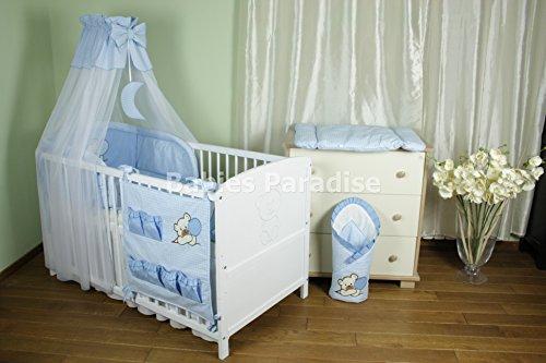 Baby Bettwäsche Set mit Applikation kariert (Bär Ballon) (5 tlg, Blau)