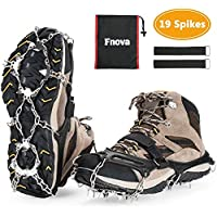 Fnova Traction Cleats Ice Snow Grips Anti Slip 19 Spikes Crampons, True Stainless Steel Spikes and Durable Silicones for running, jogging, climbing, hiking on snow and ice