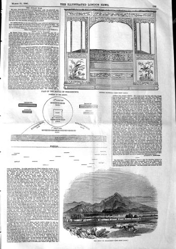 1846 BATAILLE INDIENNE FEROZSCHUHUR DE LA ZONE JELALABAD DE GUERRE par original old antique victorian print