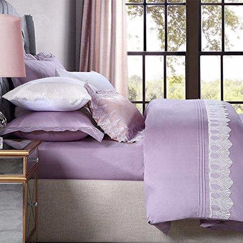 Baumwolle Queen-size-blatt-sets (Super Soft 4-Piece Bettwäsche Set, Falten, Fade & Stain resistent, baumwolle, baumwolle, flieder, vier stück (blätter, blätter, kissenbezüge),Lilac,Queen,)