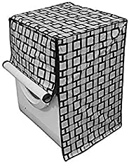 Kuber Industries Front Load Fully Automatic Washing Machine Cover In Square Design Grey Color (Suitable For 6