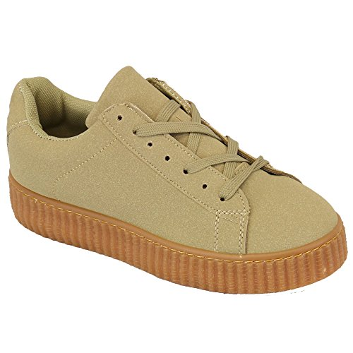 Femmes Plantes Grimpantes Chaussures Baskets À Lacets Escarpins Semelle Compensée Chaussures Kaki - AM1101