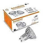 BAOMING gu10 led warmweiss glühlampen 230V 5 Watt GU10 Sockel Aluminium Scheinwerfer 35W-50W Halogenlicht Äquivalent 400LM 38° Deg Warmweiß 2700-3000K Standardgröße Einbauleuchten Strahler 6er Pack
