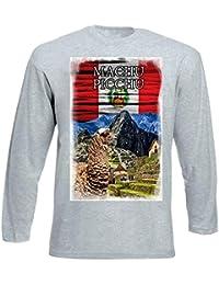 teesquare1st Peru Macchu Picchu Llama Tshirt de Manga Larga Gris para Hombre