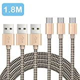 [3-Pack/1.8m]OTISA Micro USB Charger Cable Nylon Braided USB Charging Cable High Speed Micro Cable for Android Smartphones Samsung, HTC, Motorola, LG, Sony, Google and More
