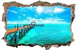 Steg am Meer Sommer Karibik Wandtattoo Wandsticker Wandaufkleber D1246 Größe 40 cm x 60 cm