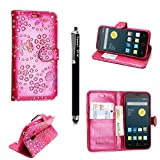 Alcatel PIXI 4 6 inch (3G)(9001X) Case - Kamal Star® VARIOUS PU Leather Magnetic Case Cover + Free Stylus (Rose Pink Diamond Book)