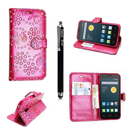 Axon 7 mini Hülle, Kamal Star® Hülle für ZTE Axon 7 mini , (Rose Pink Diamond Book) Schutzhülle Lederhülle Handyhülle aus Leder Flip Cover Taschenhülle mit Kreditkartenhaltern, Standfunktion, Geldbeutel, Magnetverschluss + Stylus (Rose Pink Diamond Book)