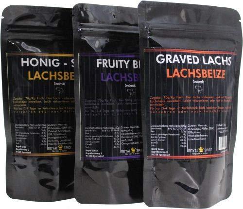 Lachsbeize dreier Set, Graved Lachs, Honig -Senf, Fruity Berry für insgesamt bis zu 6 Kg Lachs und Räucherlachs Beizen!!