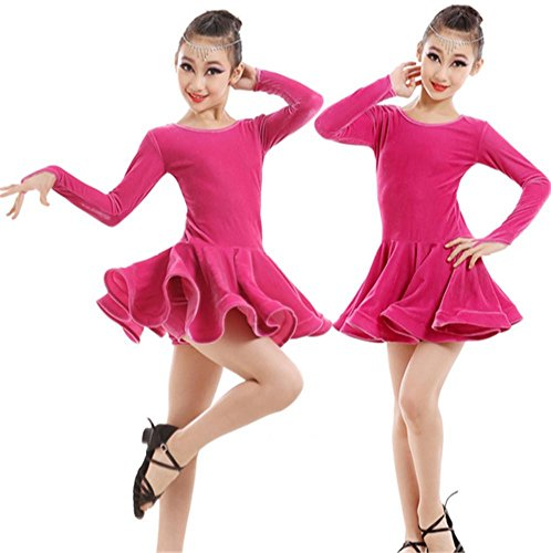 Mädchen Winter Latin Dance Kleid Kinder Latin Dance Performance Kostüm , 160cm