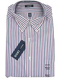 Mens Dress Shirt IZOD Slim Fit Cotton Rich Easycare Long Sleeve
