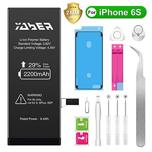 Yaber Batterie Interne pour iPhone 6S Batterie, 2200mAh Haute capacité Batterie 6S Batterie de Remplacement Li-Polymer 0 Cycle pour iPhone 6S avec Kit de Outils