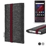 flat.design Handy Tasche Coimbra für BlackBerry Key 2 LE Dual-SIM - Schutz Case Tasche Filz Made in Germany anthrazit Bordeaux