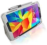 LuvTab® Samsung Galaxy Tab 4 (Tablet da 8.0 pollici) 2014 modello a portafoglio multi-angolo e muti-funzionale, supporto da tavolo e custodia pieghevole con penna stilo / Sleep Wake Sensor - Bianco