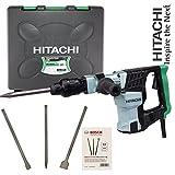 Hitachi Meißelhammer H41MB, SDS-Max, 930 Watt, 5kg, inkl. 1 Spitzmeißel mit Transportkoffer + Bosch SDS-MAX Meisselset 3-tlg. Spitzmeißel/Flachmeißel / Spatmeißel 50x400mm