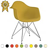 Promo 2x silla Inspiration Eiffel patas de acero cromo asiento Mostaza MOBISTYL® dar-mu-2