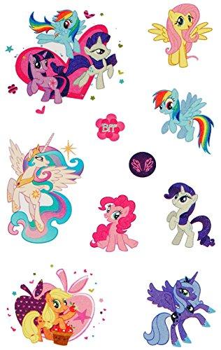 """10 tlg. Set: Haut Tattoo - """" My little Pony """" - Mädchen für Kinder - Tattoos Hauttattoo - Ponys Einhörner - Aufkleber Sticker - Erwachsene - Kindertattoos - Einhorn Pferde"""