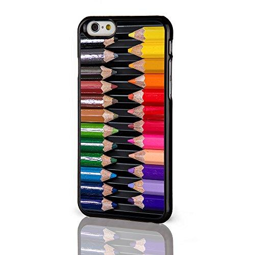 Artiste Collection Coques pour la gamme Iphone. Peinture Palette Aquarelle Crayons Coque arrière rigide pour iPhone modèles à partir de icasedesigner, plastique, Paint Palette on a Black Background, i Colouring Pencils on a Black Background