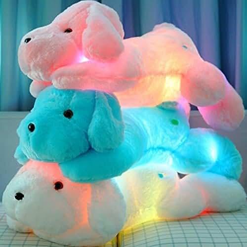 munecos dia madre kawaii Favolook - Almohada de peluche LED para perro, luminoso brillo en la noche, adorable peluche juguetes Kawaii Teddy perro peluche peluche animal – el mejor regalo para niños fiesta cumpleaños
