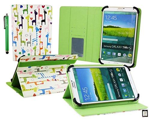 Emartbuy® BigBen Unity Tab 7 Tablet PC 7 Zoll Multifarbig Giraffen Multi Angle Exekutiv Folio Mappen Kasten Abdeckung mit Kartensteckplätze + Eingabestift