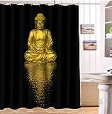 LB Bouddha doré Fond Noir Rideau de Douche pour Salle de Bain Ensemble de Rideaux de Douche avec 12 Crochets étanche en Tissu de Polyester Anti-moisissure 150x180