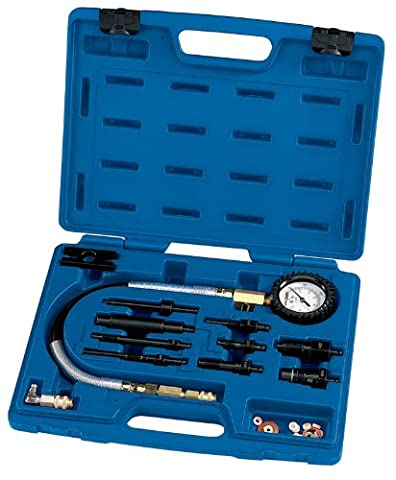EXPERT 12 PIECE DIESEL ENGINE COMPRESSION TEST KIT - Expert Quality, allows the compression of car and van diesel engines (direct or indirect fuel injection) to be tested by cranking. Large easy-to-read scale measuring 0-1000psi/0-70kg/cm² with 600mm of flexible hose and push on adaptor incorporating a Schrader one way valve. Side pressure relief valve allows rapid retesting. Display packed in blow mould storage case with